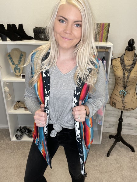 SERAPE AND COW QUILTED VEST PU