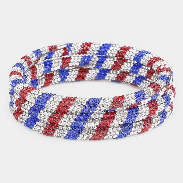 3PC Red White Blue Bling Bracelet set