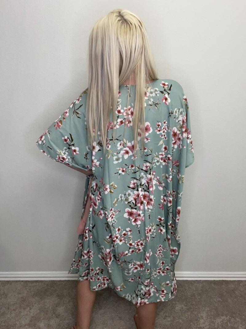 Sage Floral Open Front Kimono