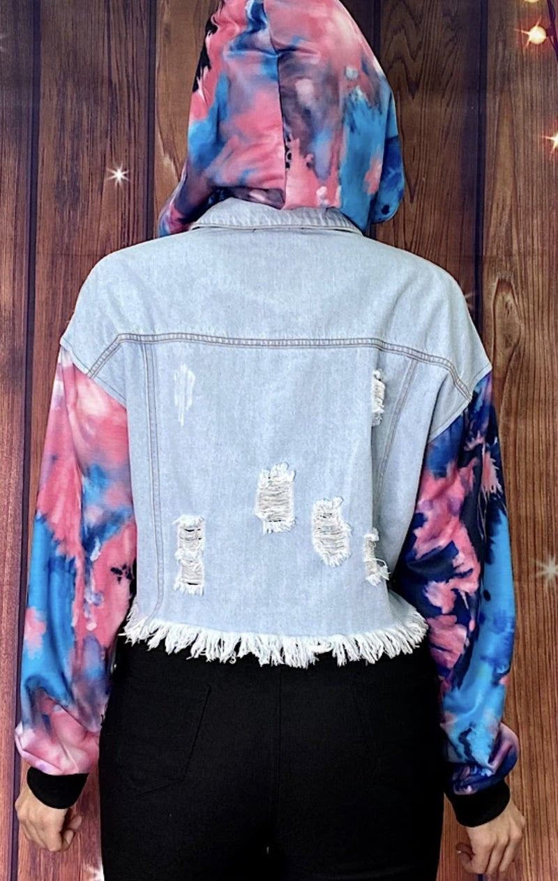 Cotton Candy Tie Dye Jean distressed jacket w/removable hoodie PU