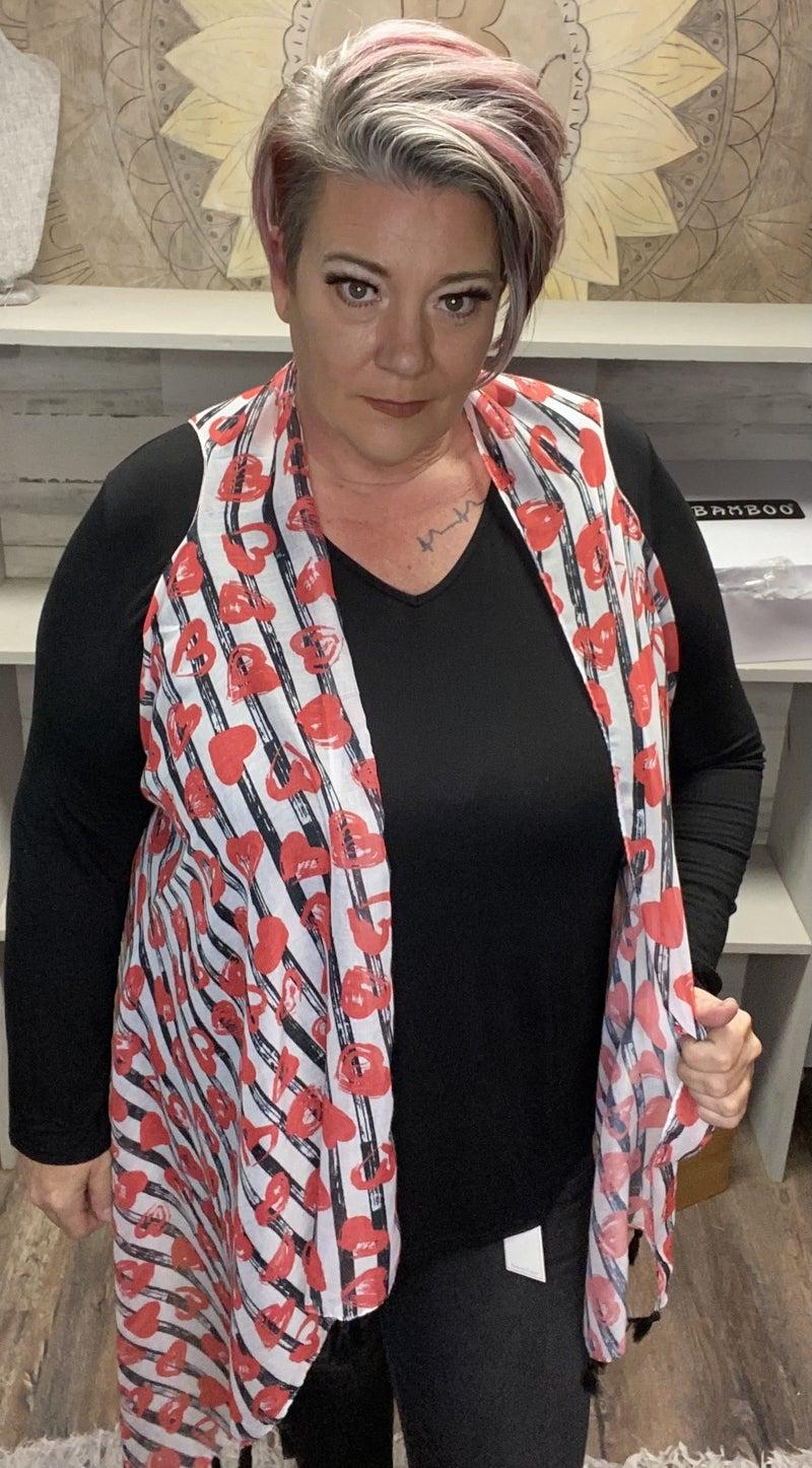 Striped & heart printed one size kimono