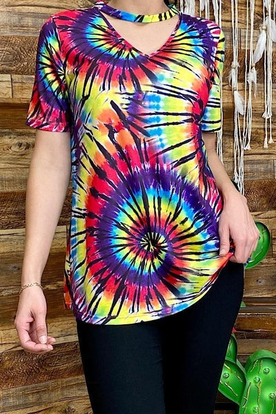 Multi color spiral tie dye top w/key whole neckline PU *Final Sale*