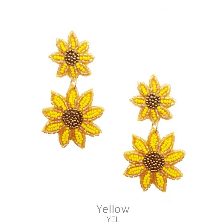 Duel layer seed bead sunflower dangle earrings