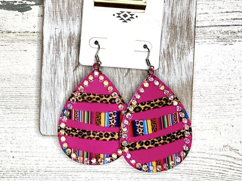 Fuchsia teardrop bar style leopard and serape bling earrings