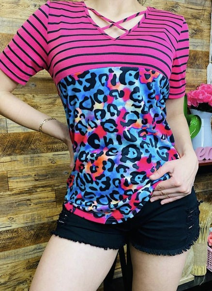 Block print cris cross keyhole top