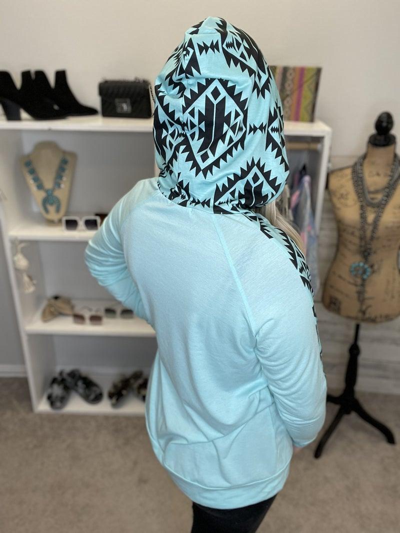Blue Aztec hoodie *Final Sale*