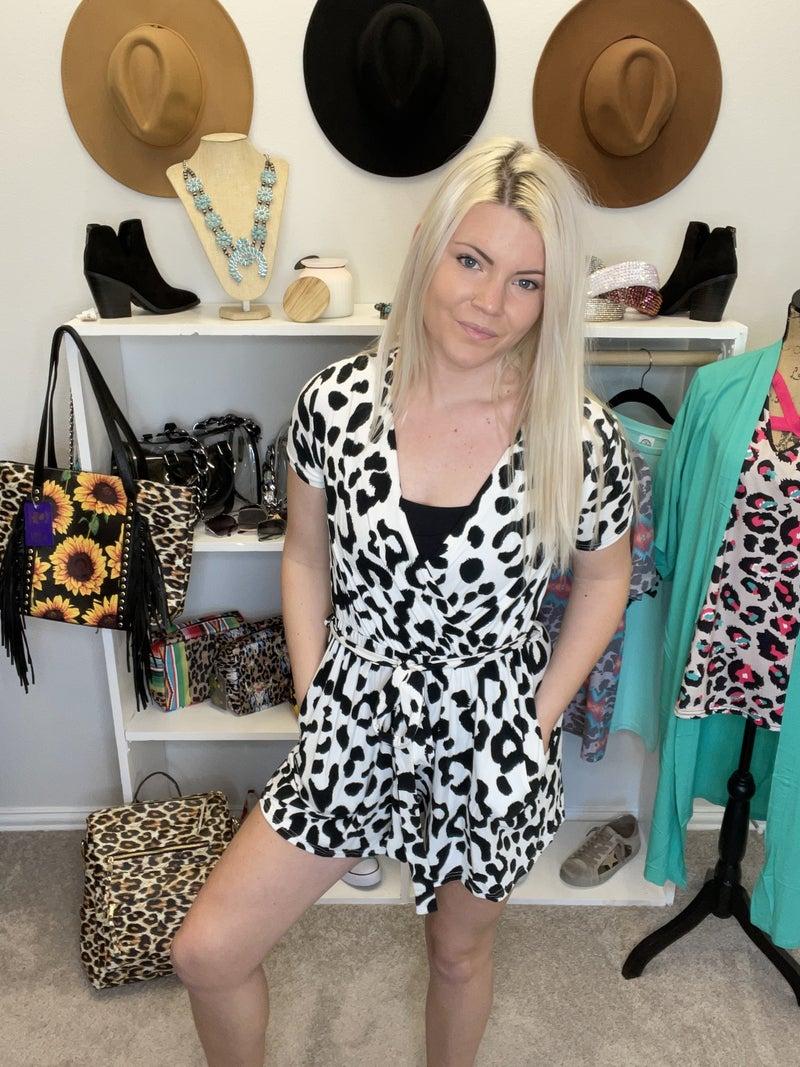 white leopard romper