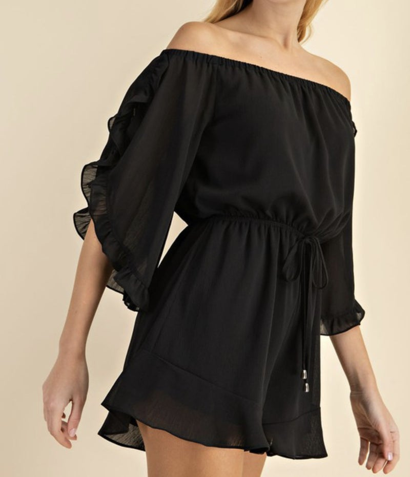 Off the shoulder ruffled romper