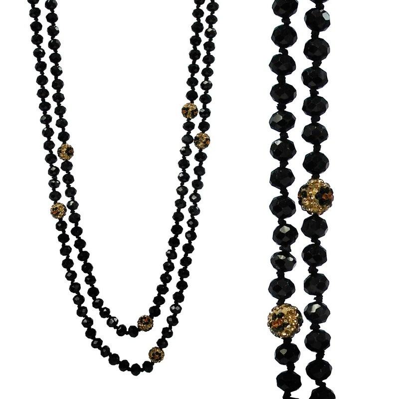 """60"""" GLASS AND LEOPARD RHINESTONE BEAD NECKLACE"""