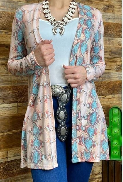 Rose pink turquoise snake skin printed cardigan PU *Final Sale*
