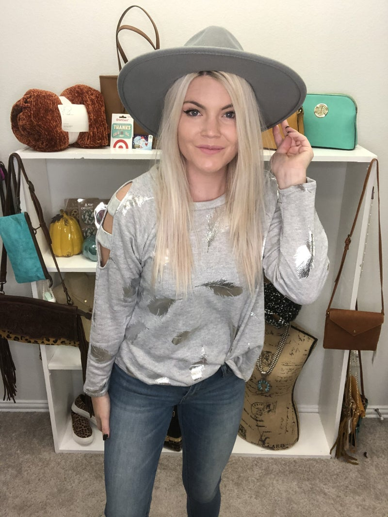 Gray Cold Shoulder Silver feather top *Final Sale*