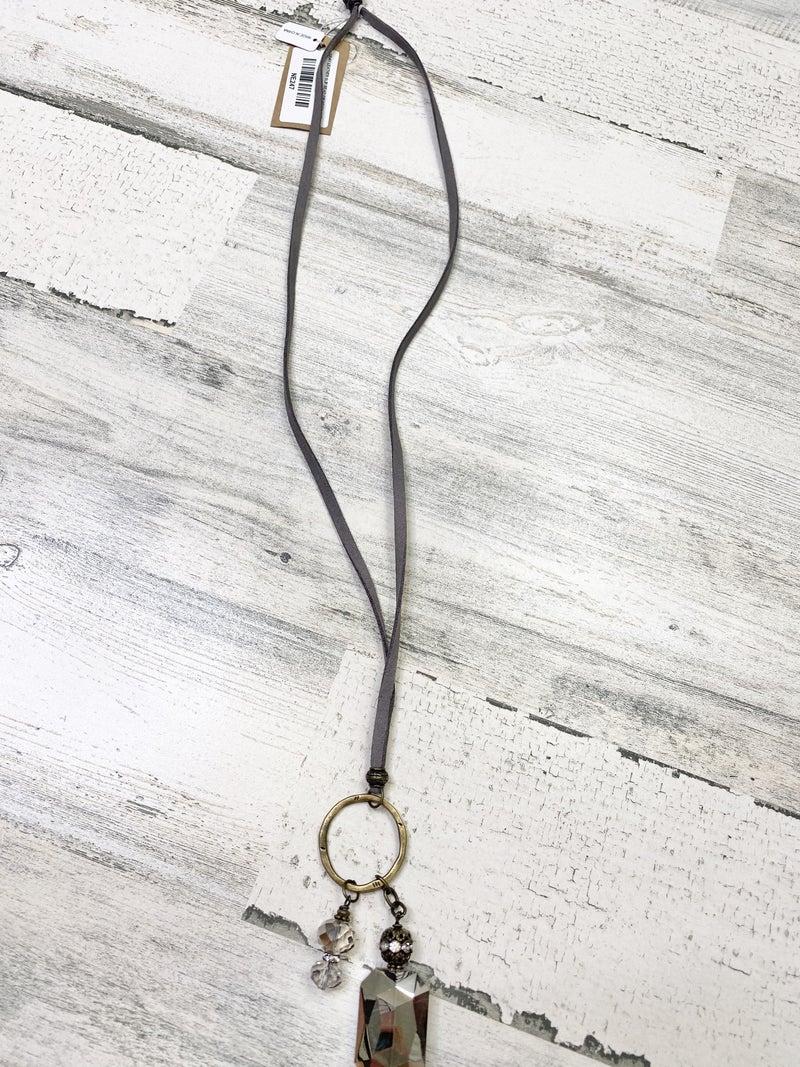 gray leather slip bead gunmetal necklace