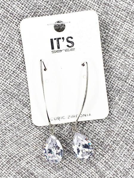 CZ Teardrop Hook Earring