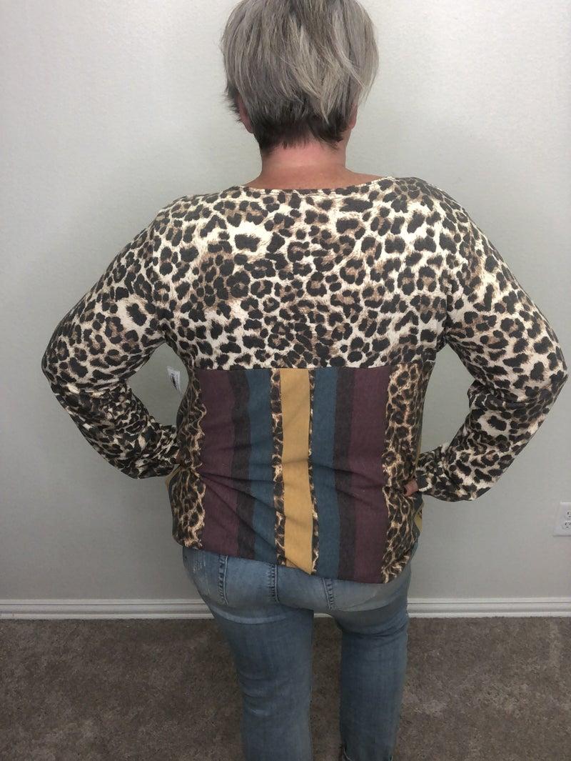 Faded wine serape and leopard long sleeve top
