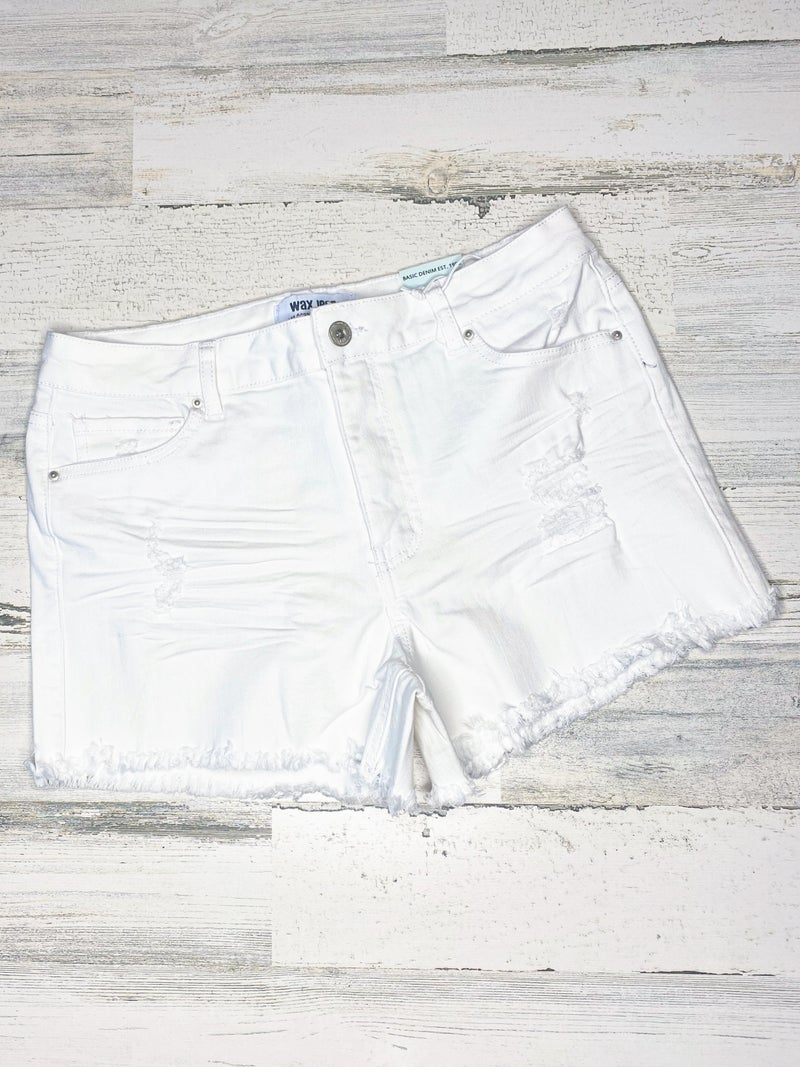 WAX JEAN WHITE DISTRESSED DENIM SHORTS