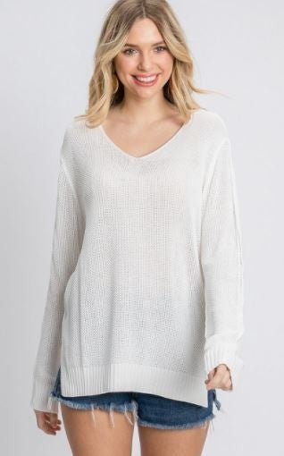 White knit Summer Sweater