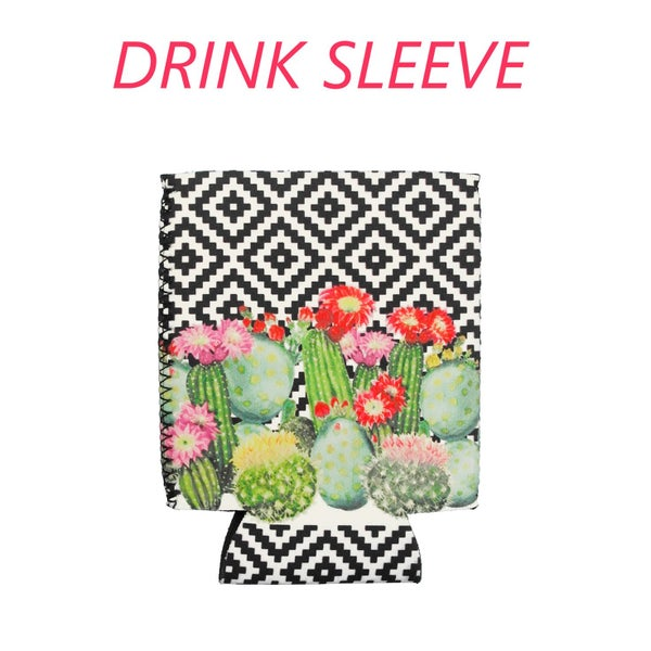 BLACK AND WHITE AZTEC CACTUS DRINK SLEEVE