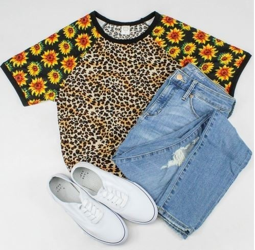 Sunflowers and Leopard Half Sleeve Top