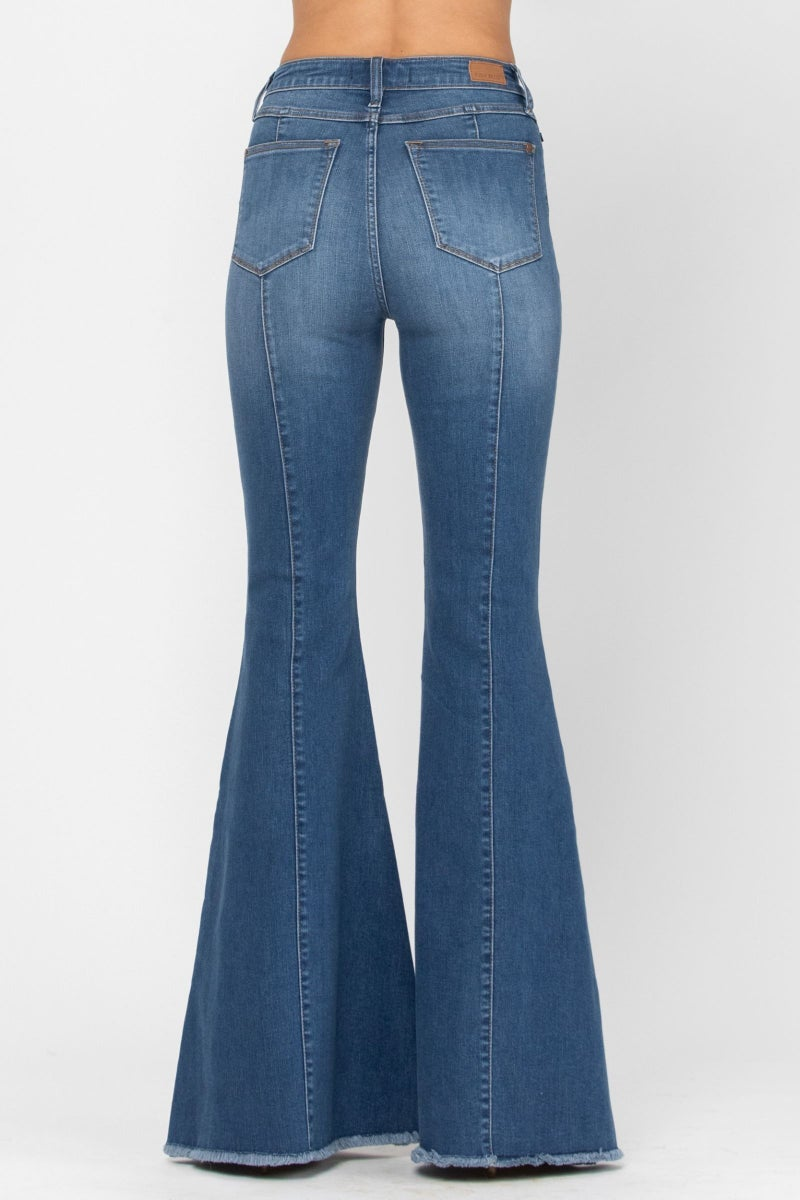 Judy Blue High Rise Front and Back Seamed Flare