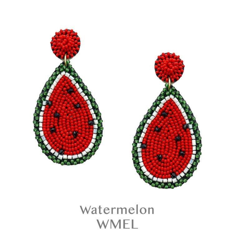 Seed Bead Watermelon Slice Earrings