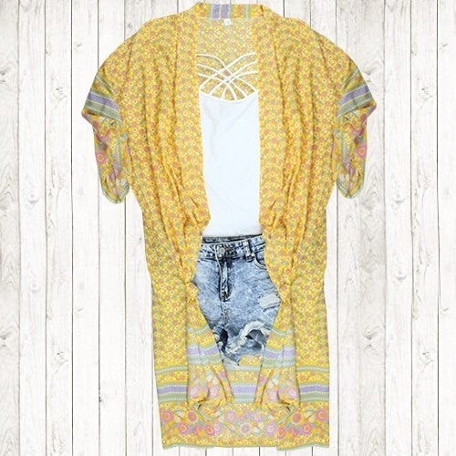 YELLOW FLORAL DUSTER