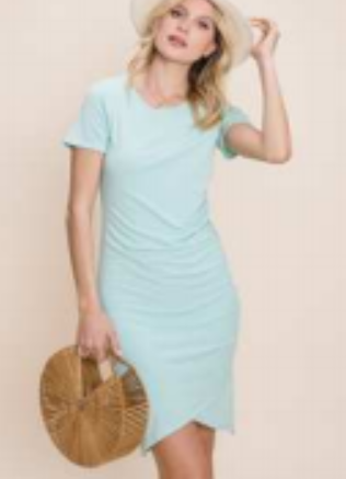 Short Sleeve knit dress featuring side cinching details