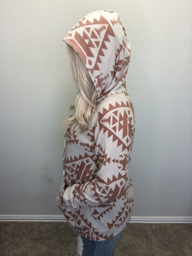 Rust and gray aztec print Cashmere hoodie