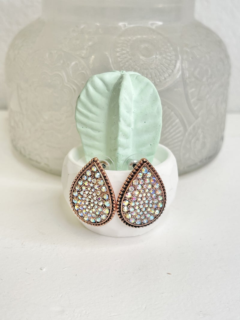 COPPER BLING TEAR DROP STUD EARRINGS