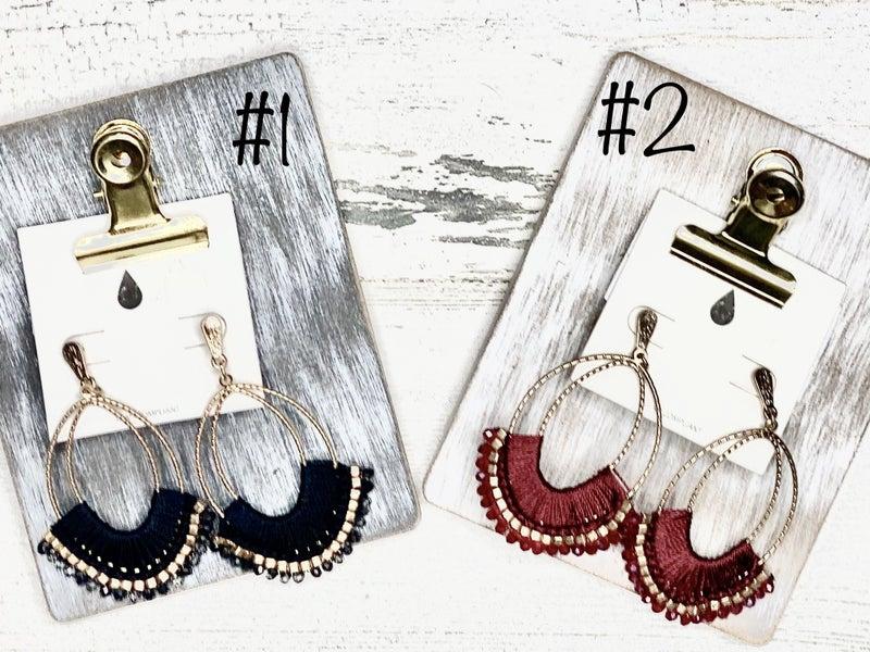 Duel oval dangle earrings