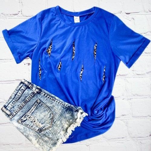 Blue And leopard slit top