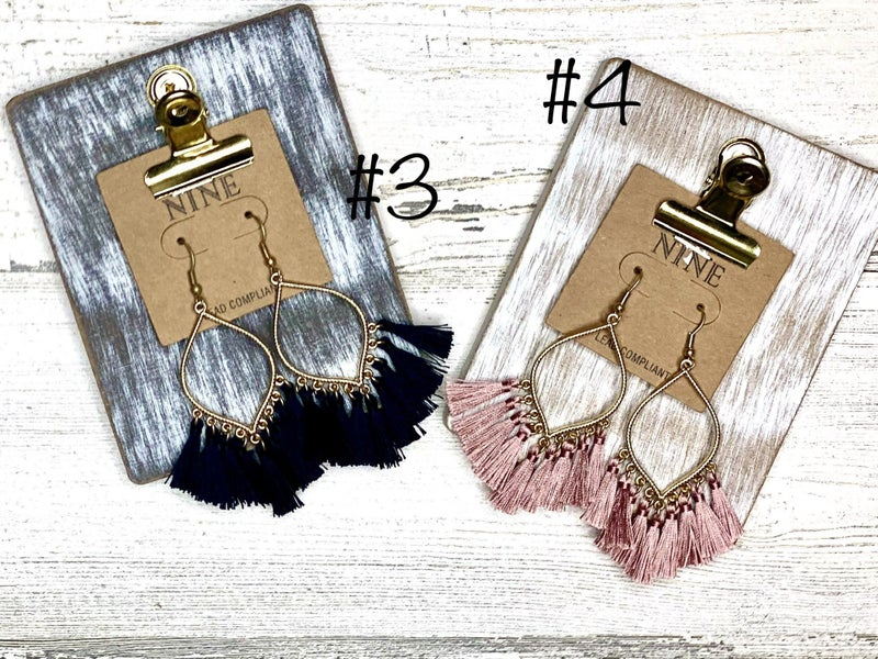 Boho dangle tassel earrings