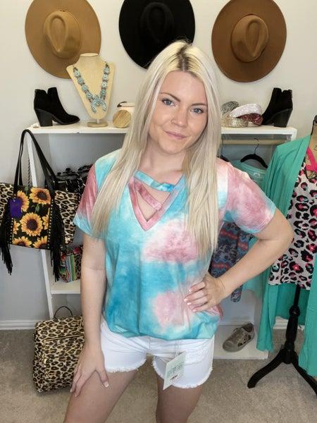 Blue & pink tie dye printed short sleeve top