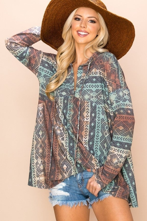 RUST TURQUOISE AND CREAM SANTA FE HOODED TOP *Final Sale*