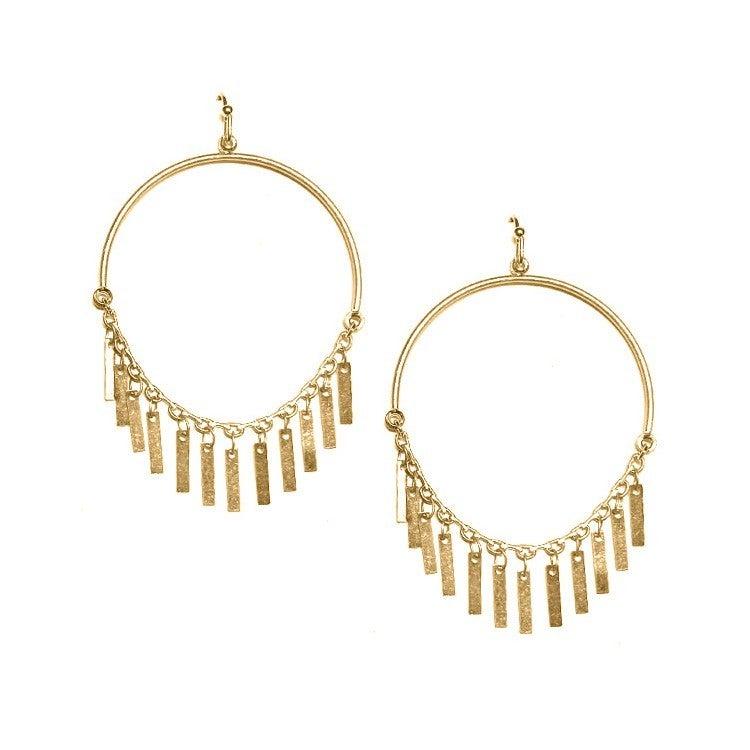 Dangle hoop with metal fringe earrings