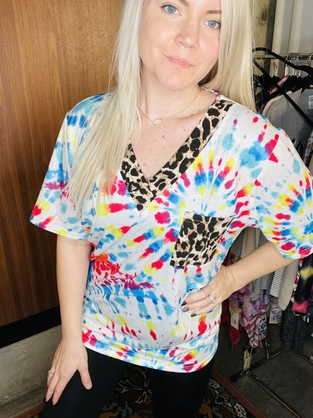 TIE DYE WITH LEOPARD V NECK TOP PU *Final Sale*