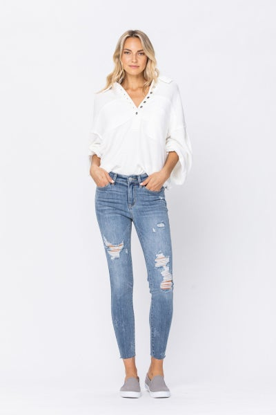 JUDY BLUE MID RISE SKINNY DESTROYED RAW HEM