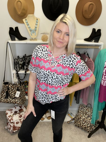 WHITE LEOPARD AZTEC PRINT TOP WITH CRISS CROSS NECKLINE PU