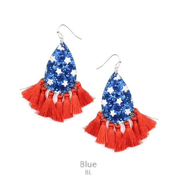 RED WHITE AND BLUE TEARDROP PADDLE EARRINGS
