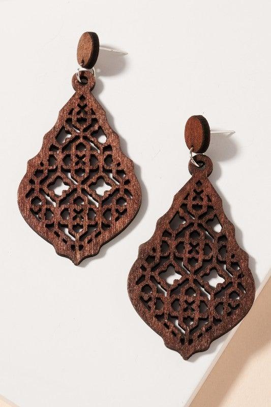 Brown Wood Boho Dangle Earrings