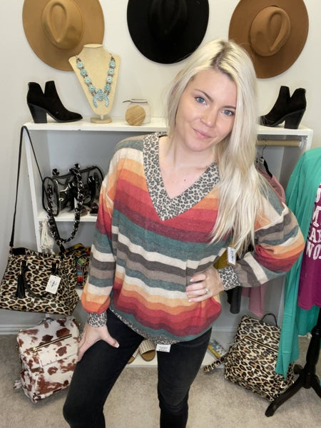 CASHMERE SOFT SERAPE AND LEOPARD V NECK SWEATER TOP *Final Sale*