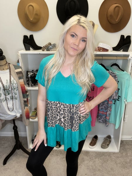 LEOPARD AND TEAL BABY DOLL TOP PU