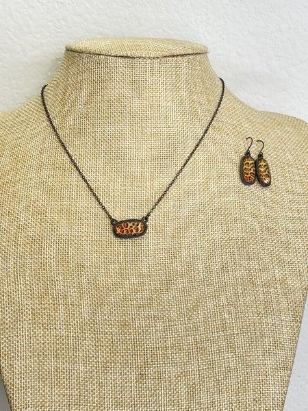 KS inspired black and leopard necklace set
