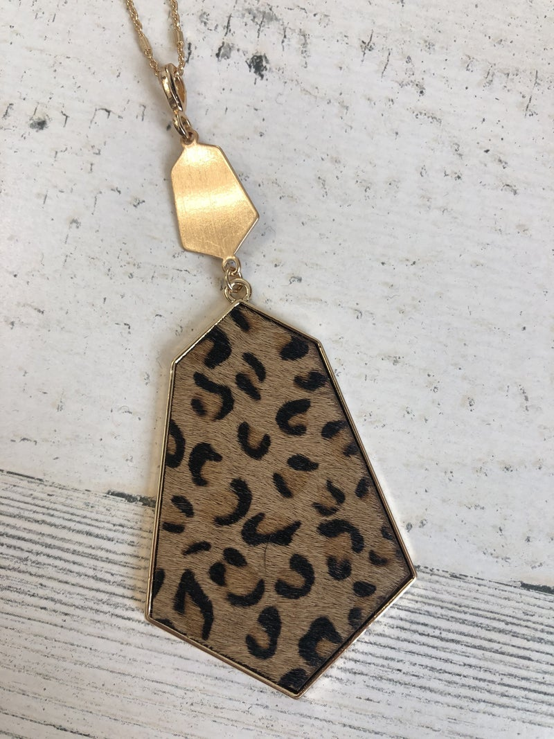 Gold long layering necklace with leopard hex pendant