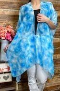 Blue tie dye printed kimono