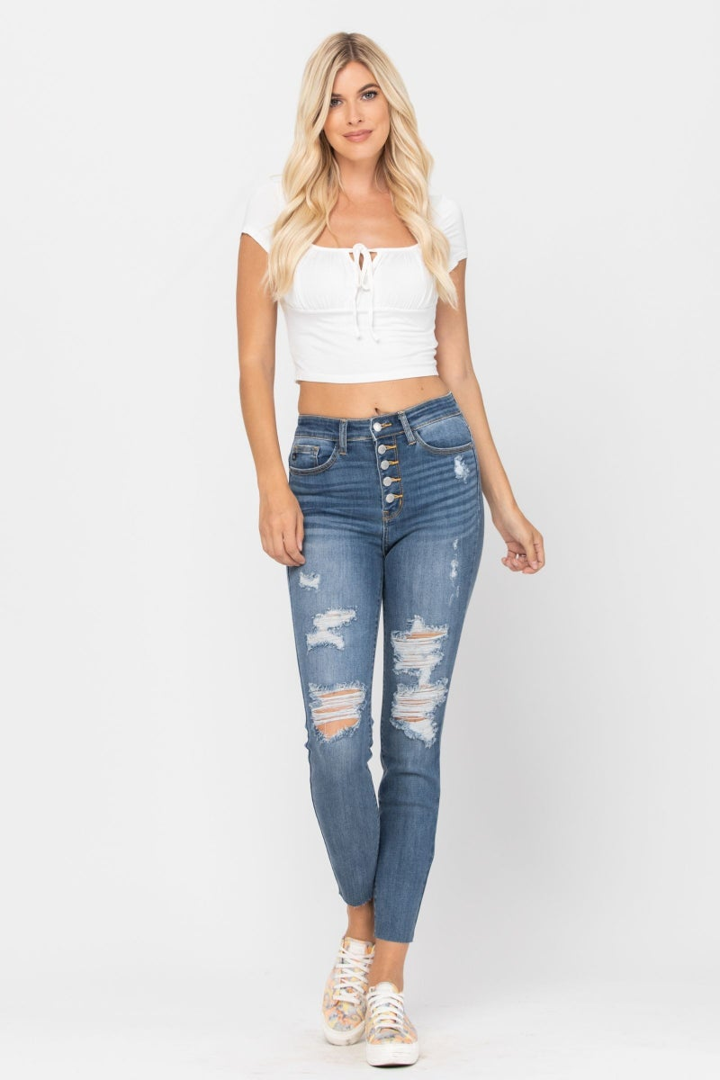 Judy Blue Destroyed High Waist Button Fly Skinny