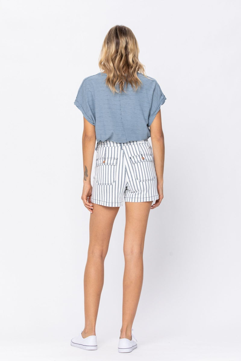 JUDY BLUE HIGH WAIST STRIPE PATCH POCKET SHORTS