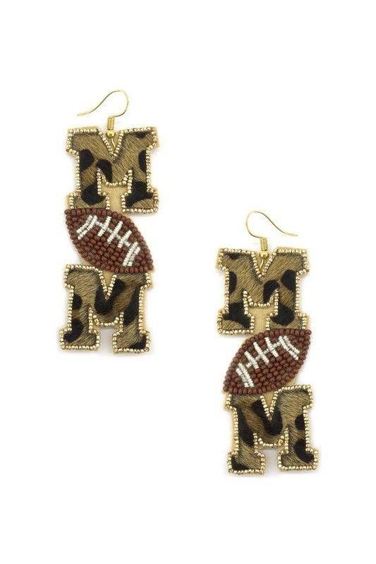 Leopard Football Mom Earrings