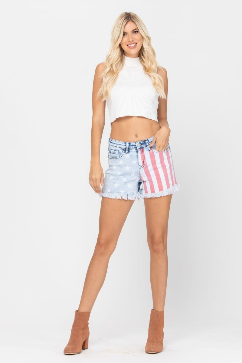 Red White n Judy Blue Mid Rise Shorts