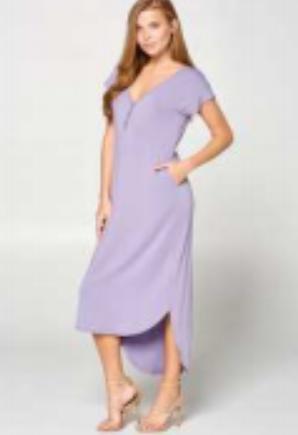 Solid short sleeve v neck oversized dress