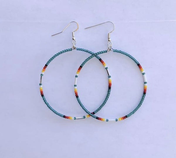Seed Bead Dangle Hoop Earrings